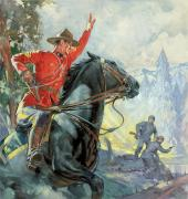 Mountainous Painting Posters - Canadian Mounties Poster by James Edwin McConnell