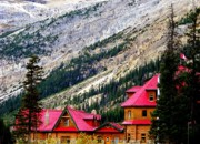 Log Cabins Photos - Canadian Red by Karen Wiles