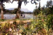 Impressionism Digital Art Prints - Canadian Sunday Out by the Lake Print by RC DeWinter