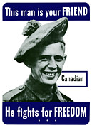 Canadian Art Framed Prints - Canadian This Man Is Your Friend Framed Print by War Is Hell Store