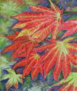 Red Leaves Pastels Acrylic Prints - Canadien Autumn Acrylic Print by Mona Davis