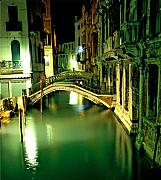 Bridge Prints - Canal And Bridge In Venice At Night Print by Michael Henderson