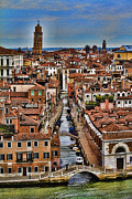 Canal Metal Prints - Canal and bridges in Venice Italy Metal Print by David Smith
