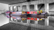 Barges Prints - Canal Barges Under The Bridge Print by Paul Madden