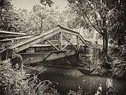Canal Digital Art - Canal Bridge at Washingtons Crossing by Bill Cannon
