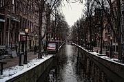 Canals Framed Prints - Canal In Amsterdam Framed Print by Arline Wagner