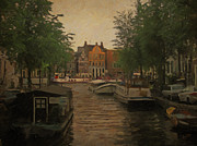 Canal In Amsterdam Print by Nop Briex