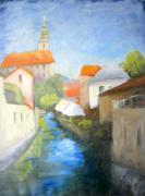 Bohemia Paintings - Canal in Cesky Krumlov by Keiko Richter