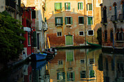 Venice Photo Framed Prints - Canal In Venice Italy Framed Print by Bob Christopher