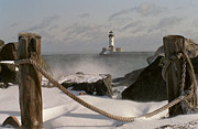 Winter Photos Prints - Canal Park Lighthouse Print by Heidi Hermes