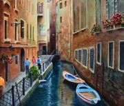 Narrow Boats Framed Prints - Canal St. Framed Print by Karen Fleschler