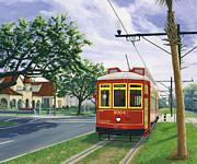 Canal Street Paintings - Canal Street Streetcar Version Two Cropped by Sean Gautreaux