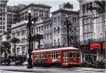 New Orleans Framed Prints - Canal Street Trolley Framed Print by Tammy Wetzel