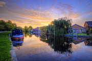 Boat Framed Prints Art - Canal Sunrise by Yhun Suarez
