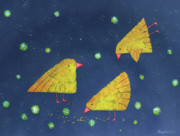 Canary Yellow Painting Prints - Canaries Print by Olena Chernyshova