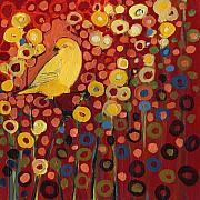 Red Abstract Paintings - Canary in Red by Jennifer Lommers