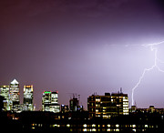 Canary Metal Prints - Canary Wharf And Lightning Metal Print by Pete Hollobon / Beechlights Photography