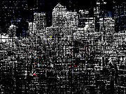 London Skyline Digital Art Prints - Canary Wharf Print by Andy  Mercer
