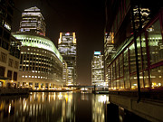 Citibank Posters - Canary Wharf at Night Poster by Henry Clayton