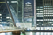 Architectural Detail Framed Prints - Canary Wharf at Night Framed Print by John Harper