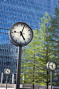 Precise Prints - Canary Wharf Clocks in London Print by Stefano Baldini