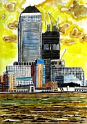 Canary Paintings - Canary Wharf by Lesley Giles