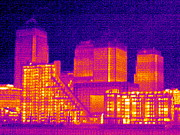 Hot Dogs Art - Canary Wharf, London, Uk, Thermogram by Tony Mcconnell