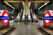 Stair-rail Framed Prints - Canary Wharf Station Framed Print by Svetlana Sewell