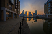 Hotel Digital Art Posters - Canary Wharf Sunrise Poster by Donald Davis