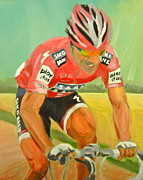 Bicycling Paintings - Cancellara wins Roubaix by James Lopez