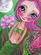 Pop Surrealism Painting Posters - Cancer - Zodiac Mermaid Poster by Jaz Higgins