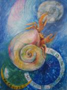 Astrology Drawings Posters - Cancer Poster by Brigitte Hintner