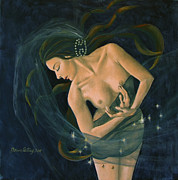 Live Art Posters - Cancer from Zodiac series Poster by Dorina  Costras