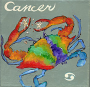 Zodiac Paintings - Cancer the Crab by Doris Blessington