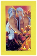 Intimacy Digital Art Posters - Candelight And Fruit Poster by Michael Jude Russo