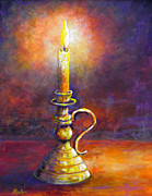 Candle Painting Originals - Candle -   Violet Glow by Lou Ann Bagnall