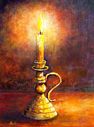 Candle Painting Originals - Candle - Amber Glow by Lou Ann Bagnall