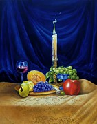 Fruit And Wine Originals - Candle Light and Wine by Gilee Barton