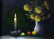 Act Painting Posters - Candle Light Poster by Tony Calleja