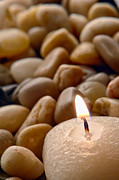 Pebbles Photos - Candle on the Rocks by Olivier Le Queinec