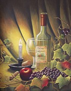 Wine Holder Metal Prints - Candlelight Wine and Grapes Metal Print by Diana Miller