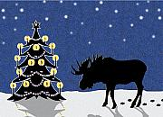 Christmas Greeting Originals - Candlelit Christmas Tree and Moose in the Snow by Nancy Mueller