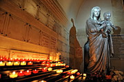 Female Christ Photos - Candles and Virgin Mary with Infant by Sami Sarkis