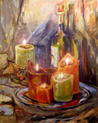 Wine-bottle Framed Prints - Candles and Wine Bottle Framed Print by Peggy Wilson