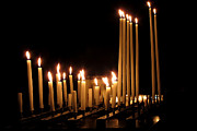 Church Posters - Candles in Church Poster by Olivier Le Queinec