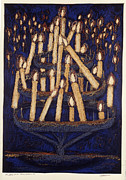 Candelabra Painting Prints - Candles in Sacre Couer Print by Susan  Brasch