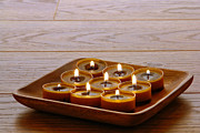 Lit Framed Prints - Candles in Wood Tray Framed Print by Olivier Le Queinec