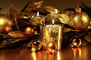 Background Art - Candles light in sparkling gold  by Sandra Cunningham