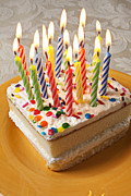 Flame Metal Prints - Candles on birthday cake Metal Print by Garry Gay