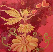 Fairy Hearts Pink Flower Drawings Metal Prints - Candy 1 Metal Print by Jackie Rock